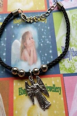 "Black Bracelet/Anklet Silver Spiritual ""Your Guardian Angel"" Lucky Charm"