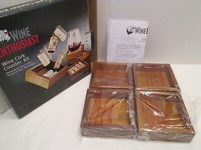 Wine Enthusiast Wine Cork Coaster Craft Kit 4 Wood Coasters Add your Own Corks