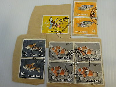 9 Assorted Singapore Postage Stamps