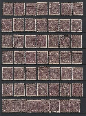1919 1½d BLACK-BROWN KGV, Single watermark x 100 stamps, USED  -  2 scans