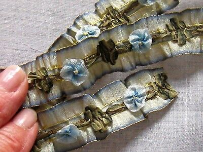 RARE 20s RIBBONWORK RUCHED SILK OMBRE&GOLD RIBBON w/RIBBON ROSETTES~Doll/Flapper