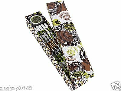 NWT Vera Bradley Pencil Box in Cocoa Moss #2 pencils sharpener set 11270 143 EZ