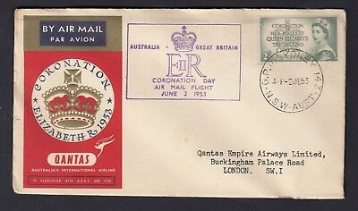 1953 CORONATION DAY FLIGHT COVER to LONDON