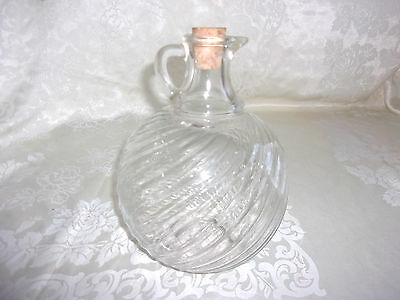 Clear Ribbed Glass Round Ball Jug Bottle With Handle & Cork     - DW52