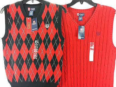 NWT CHAPS by Ralph Lauren CABLE KNIT SWEATER VEST Red Black Size XL, L Comfy
