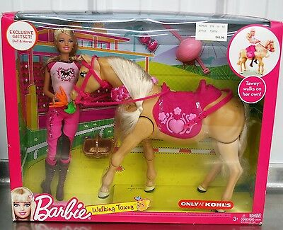 Brand New Barbie Walking Tawny Retired Exclusive Horse Box Set