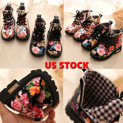 Toddler Kids Baby Girl Floral Leather Martin Boots Crib Shoes Anti-slip Sneakers