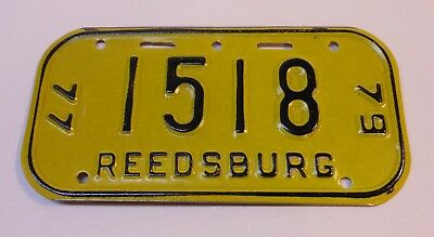 Vintage Wisconsin 1977-79 Reedsburg Bicycle License Plate