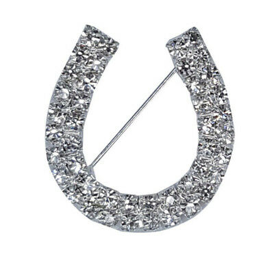 Horse & Western Jewellery Jewelry Sparkling Crystal Horseshoe Brooch Pin Silver