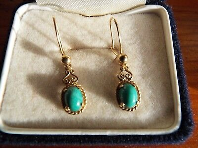 Vintage/Antique 9ct solid gold natural blue/green turquoise fancy drop earrings