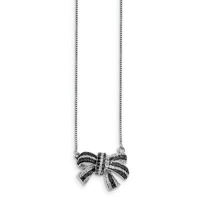 1/3 Cttw Black & White Diamond 21mm Bow Necklace in Sterling Silver