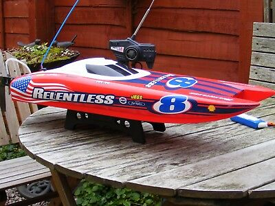 Radio Controlled H-King Marine Relentless Racing Boat, With Controller.
