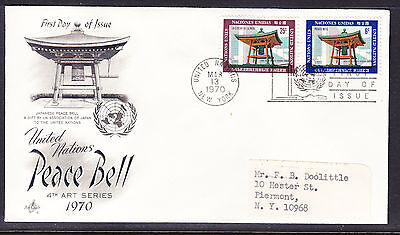 "United Nations ""Artcraft"" 1970 - Peace Bell  FDC addressed"
