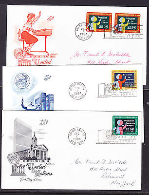 "United Nations ""Artmaster"" 1964 - Education THREE  FDC  addressed"