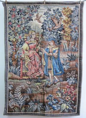 "Superb Top Quality Large French Medieval Style Tapestry 51"" X 34"" Wall Hanging c"