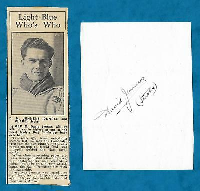 C1951 Autograph & Newspaper Cutting David Jennens 1952 Olympic Eights Rower