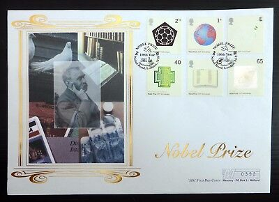 GB 2001 Nobel Prizes (6) on Silk FDC with Special PMK NB3842