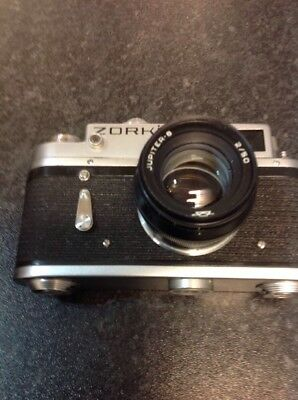 Vintage USSR ZORKI 4K  - Rangefinder Camera with Jupiter-8 2/50 Lens and Case