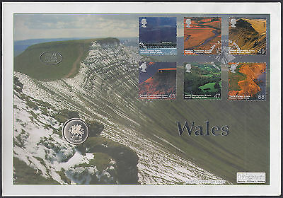 2004 Wales Mercury FDC with superb Silver Coin; Brecon Powys SHS