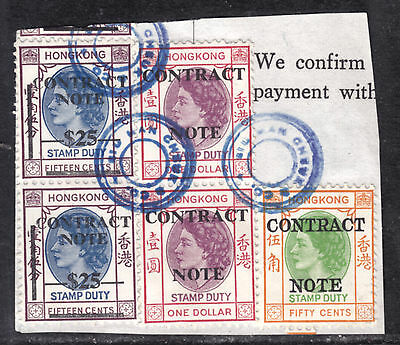 HONG KONG REVENUE #79,94x2,133x2 CONTRACT NOTE LOT/5 on PIECE