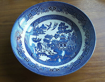 """Churchill Blue & White Willow Pattern 9"""" Round Vegetable Serving Bowl"""