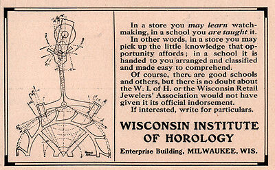 Early 1900 Ad  Wisconsin Institute Of Horology Diagram