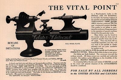 Early 1900 Ad Webster Whitcomb Watchmaker Lathe