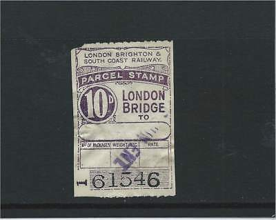 London Brighton & South Coast Railway London Bridge 10d Parcel Stamp Used