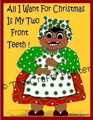 "SET of SIX - BLACK AMERICANA CHRISTMAS CARDS - ""Two Front Teeth"""