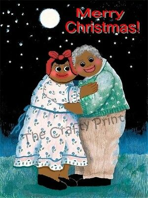 "SET of SIX - BLACK AMERICANA CHRISTMAS CARDS - ""Sweet Maw & Paw"""