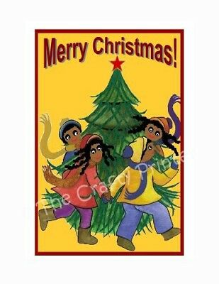 "SET of SIX - BLACK AMERICANA CHRISTMAS CARDS - ""Kids Dancing Around the Tree"""