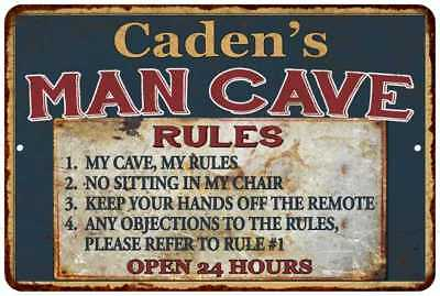 Caden's Man Cave Rules Chic Rustic Green Sign Home Décor Gift Cave 81209359