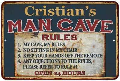 Cristian's Man Cave Rules Chic Rustic Green Sign Home Décor Gift Cave 81210047