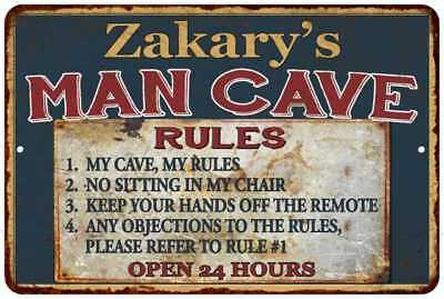 Zakary's Man Cave Rules Chic Rustic Green Sign Home Décor Gift Cave 81209763