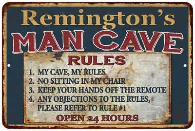 Remington's Man Cave Rules Chic Rustic Green Sign Home Décor Gift Cave 81210126