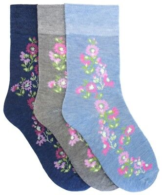 Foxbury 3 Pack Light Elasticated Top Socks with Floral Design 4-7