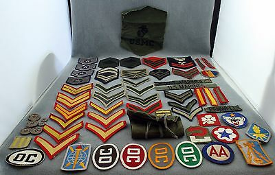 Large Lot of 62 Mixed Military Patches USAF Army Air Force Marines Navy Buttons