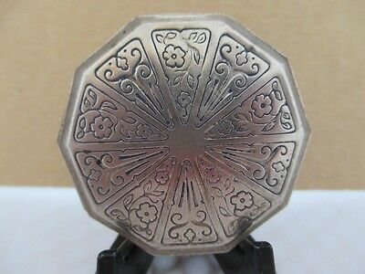 Vintage DOUCETTE White Metal Decagon Signed Face Powder Compact  Early