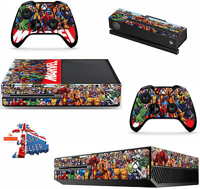 MARVEL xbox one skins decals stickers + kinect + 2 controllers game