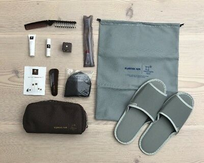 Korean Air KE Business Class Amenity Kit Kulturbeutel Slippers Olympic Logo NEW!