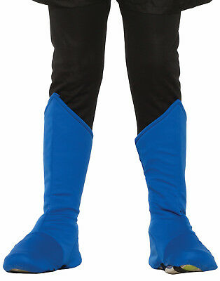 Childs Blue Super Hero Boot Top Toppers Shoe Covers Costume Accessory