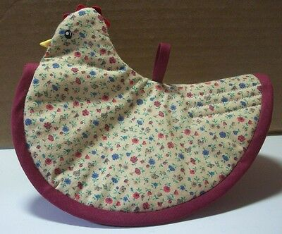 """handmade chicken potholder appx 7x6"""" tan w/red,blue,gold,green floral"""