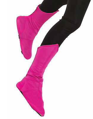 Childs Pink Super Hero Boot Top Toppers Shoe Covers Costume Accessory
