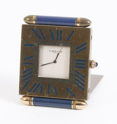 Cartier Quadrant Border Travel Alarm Clock Vintage Blue