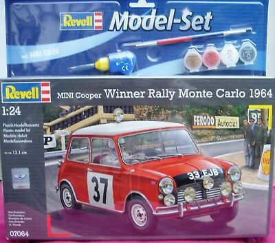 Revell 07064 Model-Set * Mini Cooper Winner Rally Monte Carlo 1964 Farben Kleber