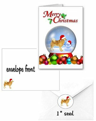30 Finnish Spitz Christmas cards seals envelopes 90 pieces snow globe design