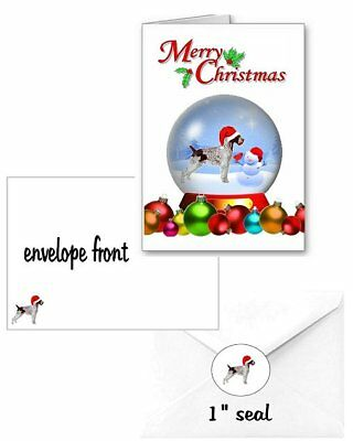 30 German Wirehaired Pointer Christmas cards seals envelope 90 pieces snow globe