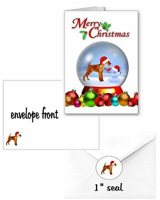 30 Irish Terrier Christmas cards seals envelopes 90 pieces snow globe