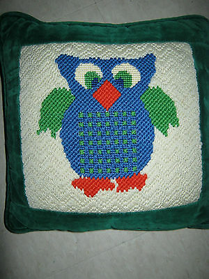 """Finished Tapestry Pillow Cushion 9.75"""" X 9.75"""" The Owl"""