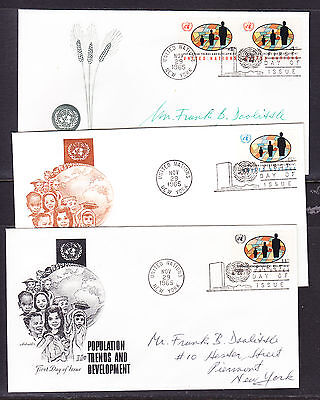 "United Nations ""Artmaster"" 1965 - Population Trends THREE FDC  addressed"